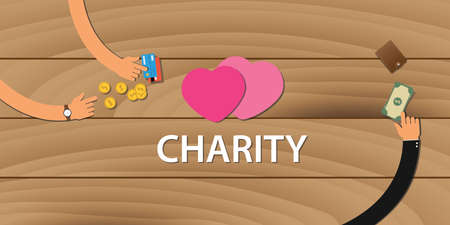love strategy: charity money donation coin and credit card vector
