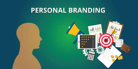personal branding with goals achievement market your self vector Illustration