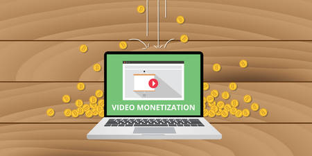 monetization: video marketing monetization gold money coin concept