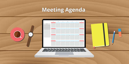 meeting agenda: online meeting agenda calendar notebook notes watch vector graphic