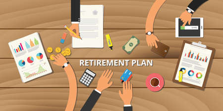 retirement savings: financial retirement planning  consult preparation concept Illustration