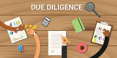 detect: due diligence business graph data analysis vector graphic