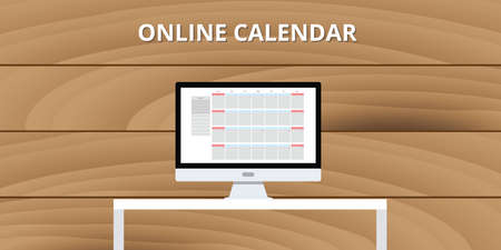 online calendar internet concept pc computer desktop isolated Illustration