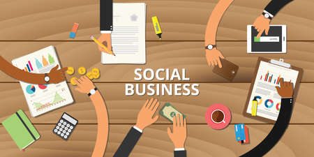 entrepreneurship: social business entrepreneurship concept graph data money analyze Illustration