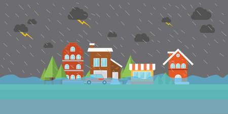 catastroph�: ville inondation eau d'inondation dans la ville rue magasin de b�timent maison ville natale Illustration