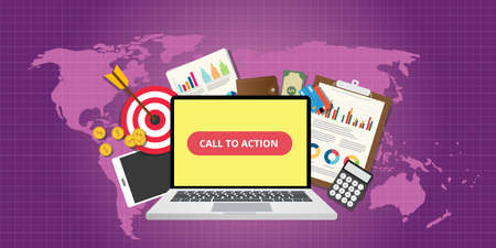 in action: call to action traffic data goals graph money technology vector Illustration
