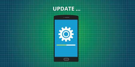 updating: update updating software app smartphone vector concept Illustration