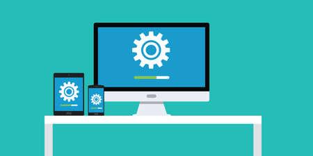 updating: update updating software app smartphone pc dekstop notebook laptop tablet vector