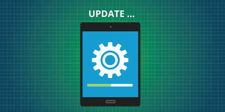 application software: update updating software app tablet vector concept