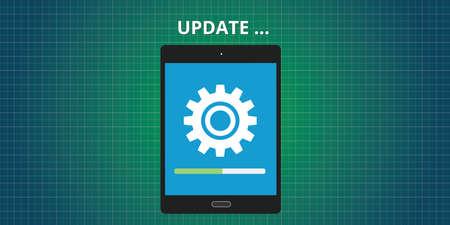 updating: update updating software app tablet vector concept