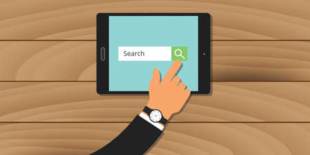 search engine analytics web tablet hand searching vector Illustration