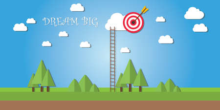 achieve goal: dream big ladder success concept achieve goal in cloud sky vector Illustration