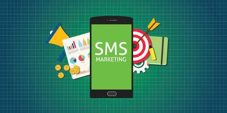 sms marketing mobile phone smarthphone graph data marketing money market Vectores