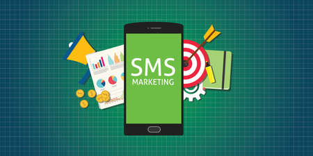 sms marketing mobile phone smarthphone graph data marketing money market Иллюстрация