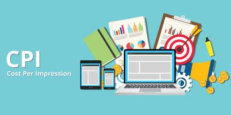cpi cost per impression impressions concept goals and target Иллюстрация