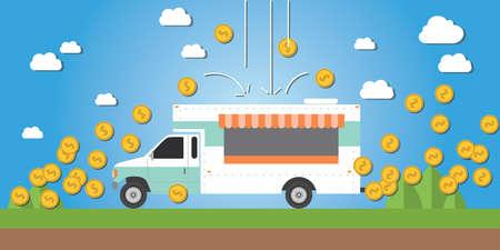 negocios comida: camión de comida ilustración negocio del oro dinero vector inversión moneda