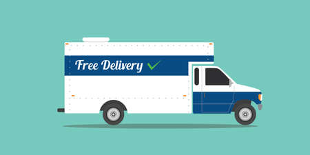 trasporti: free delivery truck shipping transport ecommerce goods vector