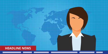 news background: headline or breaking news woman tv reporter presenter vector