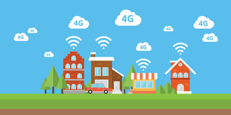 wireless network: 4g network wifi internet city smart city  wireless broadband vector Illustration