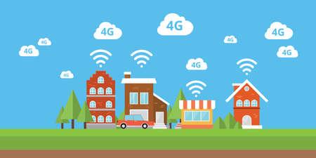 broadband: 4g network wifi internet city smart city  wireless broadband vector Illustration