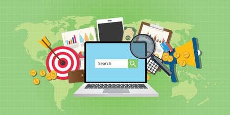 sem: sem search engine marketing seo advertising analysis notebook vector