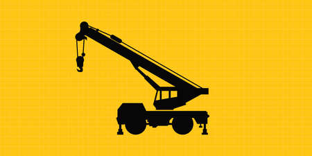 mobile crane site construction isolated silhouette vector Illustration