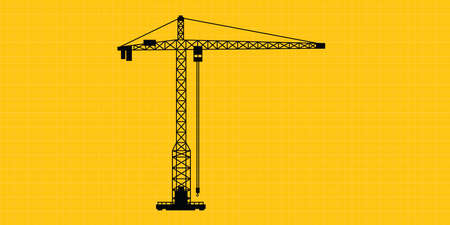 tower crane: tower crane site construction isolated silhouette vector Illustration
