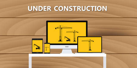 web page under construction: website construction construct under development concept vector