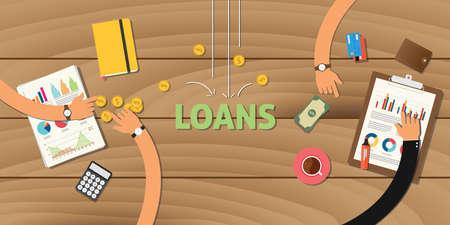 kredietfinanciering applicatie analyseren van gegevens bedrijf geld financiële vector Vector Illustratie