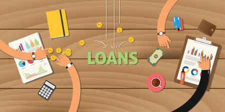 lending: loan finance application analyze data business money financial vector Illustration