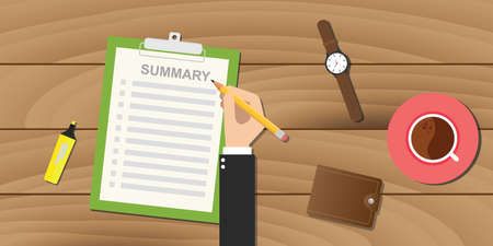 summary: summary report business clipboard executive hand coffee