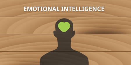 emotional intelligence human head with love symbol mind concept