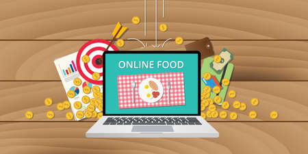 order: online food business internet money gold coins growth