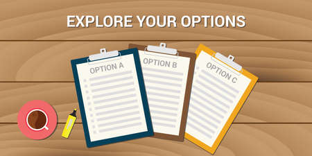 achieve goal: explore your options business problem choice and chance Illustration