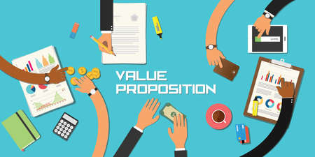 proposition: value proposition concept team work business marketing together with hand and table Illustration
