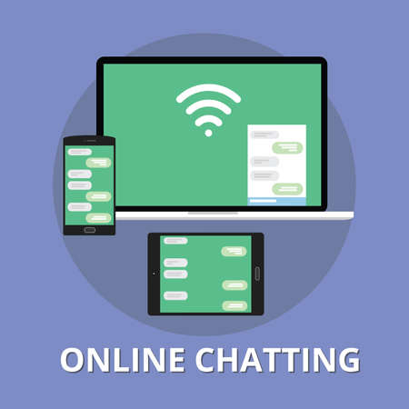 chat: online chatting chat technology multi platform with phone notebook and tab Illustration