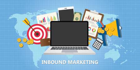 inbound marketing concept with graph data goals target illustration vector