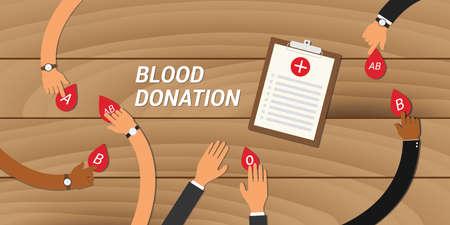 Concept de don de sang les gens donnent leur sang à d'autres personnes Vecteurs