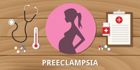 morbidity: preeclampsia pregnancy medical health treatment life pregnant vector