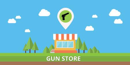 retailers: gun store shop buy pistols icon vector stock isolated vector Illustration