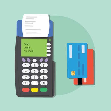 betalen credit card merchant machine debit hulpmiddelen die e-commerce vector Vector Illustratie