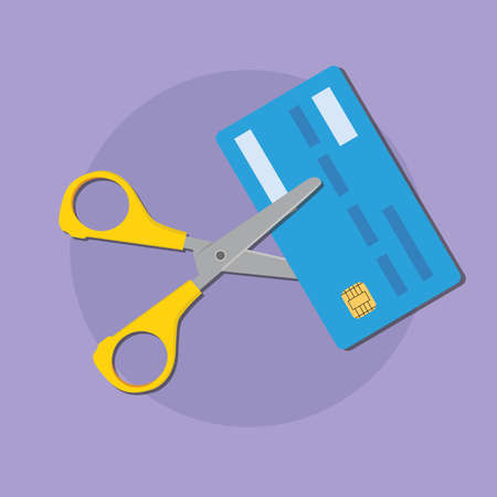 cut credit card use scissors for better finance condition vector