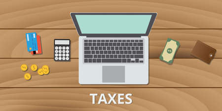 tax taxes manage budget and document use money calculator and payment method vector Ilustração