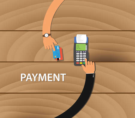 merchant: pay merchant payment debit credit card machine vector