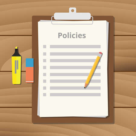 policy document: policies policy document checklist list with clipboard paper pencil Illustration