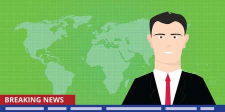 anchor man: breaking news tv anchor studio man reporter announcer presenter smile Illustration
