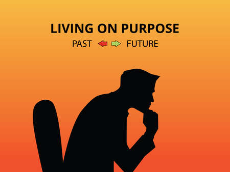 purpose: man silhouette living on purpose with past and future Illustration