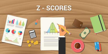 z-score interactieve grafiek normale verdeling curve berekenen berekening Vector Illustratie