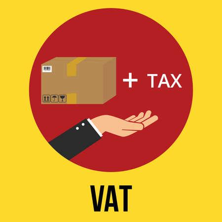 vat: vat value added tax illustration goods plus tax and customer vector Illustration