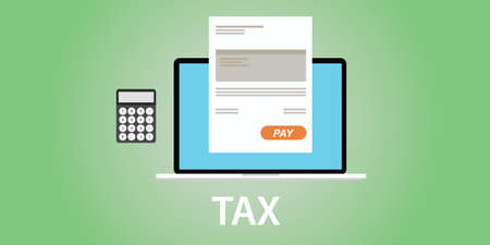 tax accountant: tax taxes concept with notebook laptop calculator with paper document vector